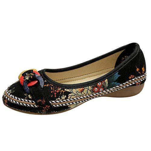 Zapatos Casuales de Verano para Mujer Estilo Nacional Zapatos de Encaje Bordados Cuerda de cáñamo...