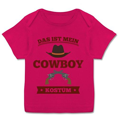 Karneval und Fasching Baby - Das ist Mein Cowboy Kostüm - 68-74 (9 Monate) - Fuchsia - E110B - Kurzarm Baby-Shirt für Jungen und Mädchen (Tron Kostüm Mädchen)