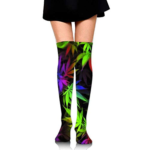 SDFGSE Men's/Women's Tie Dye Pot Leaf Weeds Casual Crew Top Socks Length 60cm - Flagge Pot Leaf
