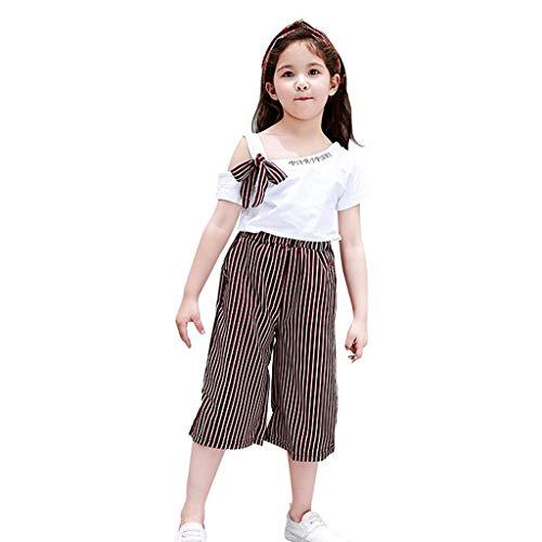 LSAltd Sommer Kinder Baby Mädchen Schöne Bowknot One Side Sling Tops + Klassische Gestreifte Breite Beinhosen Baumwolle Outfit Set