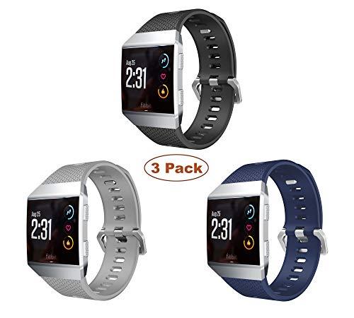 YaYuu Fitbit Ionic Armband, Ersatz Uhrenarmbänd Strap Weiches Silikon Sportarmband Erstatzband kompatibel für Fitbit Ionic Fitness Smart Watch (3 Stück(schwarz+grau+blau))