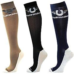 TuffRider Femmes Coolmax Hi Boot Chaussettes du Genou - Paquet de 3, Couleur- Lavande/Cachemire Bleu/Rose Chaud Taille - la Norme