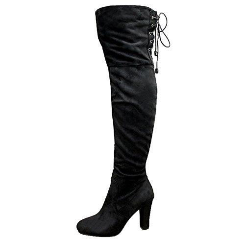 For Saver Daim Femme Noir Saute Styles Bqrywqcz Cuissardes Bottes z0RxwqH
