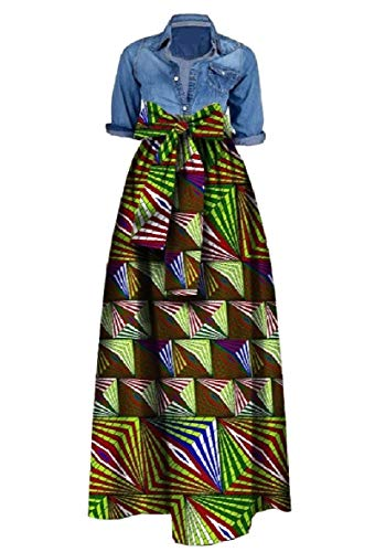 CuteRose Womens Organic Cotton African Printed Big Hem Long Maxi Skirt Light Green 4XL (Long Bed Extra Twin Rock)
