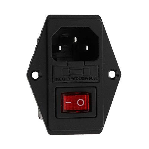 HshDUti 5A 12V 24V AC 3 Pin Eingangsmodul Stecker Sicherungsschalter Steckdose mit Sicherung Black -