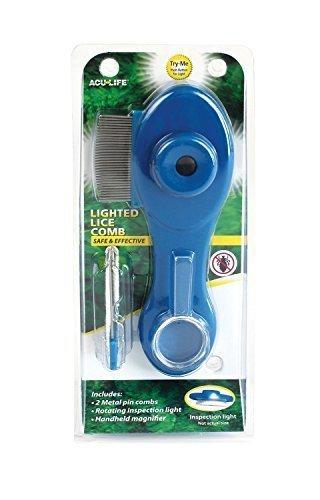 Health Enterprises - Läusekamm mit integriertem Licht, Vergrößerungslupe und auswechselbaren Metallzinken - Ideal zur Bekämpfung von Läusen, Nissen, Flöhen und Kopfläusen