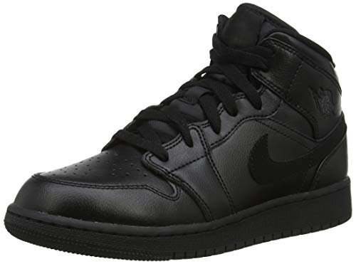 Nike Jungen AIR Jordan 1 MID (GS) Basketballschuhe, Schwarz (Black/Black/Black 090), 40 EU