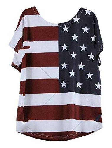H&E Womens Short Sleeve American Flag Print Fashion Top July 4th Plus Size Blouse T-Shirts
