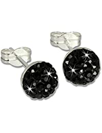 SilberDream Glitzer Ohrstecker Halbkugel schwarz Preciosa Elements 925 Sterling Silber Ohrringe GSO217S