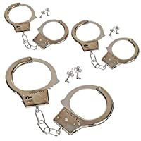 ‏‪Kicko Steel Handcuffs with Keys - 3 Pack, Silver, 10.5 Inch - Pretend, Costume Props, Party Favors‬‏