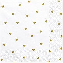 + + Sterne goldaus Papier 20 Servietten weiß