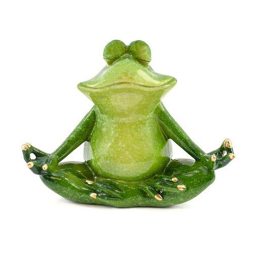 Deko Frosch Yoga, Dekofigur Frosch meditierend, Deko - Objekt Frosch, grün