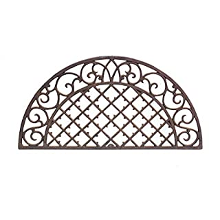 Antikas Door Mat Country House Style Filigree Decorated Door Mat Weatherproof Lattice Semi-Circular