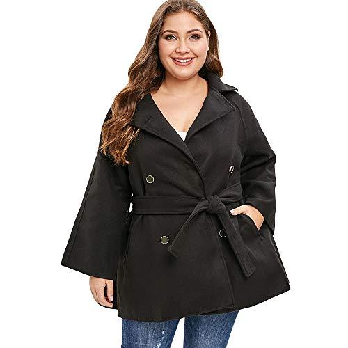 Gaodaweian Plus Size Double Breast Belt Coat Plus Size Spitzeneinsatz Plaid Zip Fly Coat Vorne Offen Lange Blazer Frauen Plaid Belted Coat