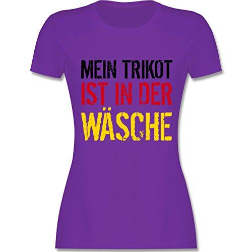 Fußball-Europameisterschaft 2020 - Mein Trikot ist in der Wäsche WM Deutschland - M - Lila - L191 - Damen Tshirt und Frauen T-Shirt