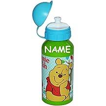 """Alu Trinkflasche Bär """" Winnie the Pooh """" - incl. Name - aus Aluminium 400 ml - Kinder Flasche für Mädchen Jungen - Ferkel Tigger Aluflasche Fahrradflasche 0,4 l Puuh Disney grüne"""