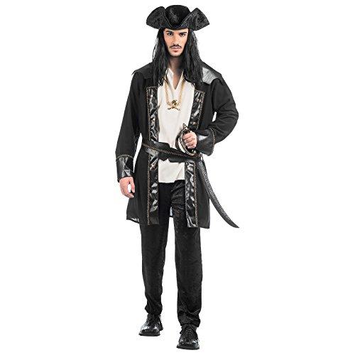Erwachsene Blackbeard Für Kostüm (Schwarzer Pirat Karneval Kostüm Herren Anzug mit Hut 4-tlg. schwarz weiß -)