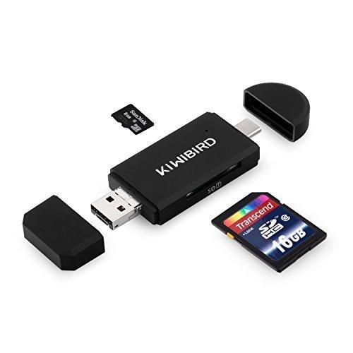 KiWiBiRD Lettore di Schede SD/Micro SD, Adattatore Micro USB OTG USB-C Tipo C USB 2.0 per SDXC SDHC SD Micro SDXC Micro SDHC Micro SD Card e Schede UHS-I, Compatibile con Smartphone MacBook Laptop