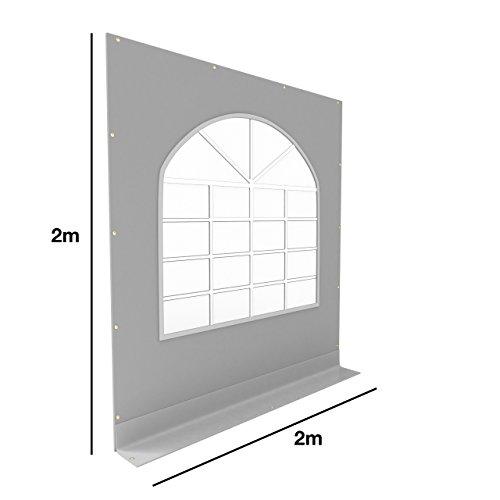 TOOLPORT PVC Seitenteil für Partyzelt Pavillon Gartenzelt 2x2m Seitenwand mit Fenster (rundbogen) grau