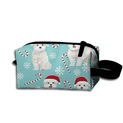 Travel Makeup Maltese Dogs Xmas Holiday Beautiful Waterproof Cosmetic Bag Quick Makeup Bag Pencil Case