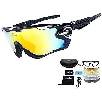 TOPTETN Gafas de Sol Deportivas polarizadas Protección UV400 Gafas de Ciclismo Lentes Intercambiables para Ciclismo, béisbol, Pesca, esquí, Carreras