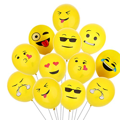 huyiko Luftballons, 12 Zoll, Emoji, Latex, Luftballons, Partys, Wedding, aufblasbar, Strand, Pool Party