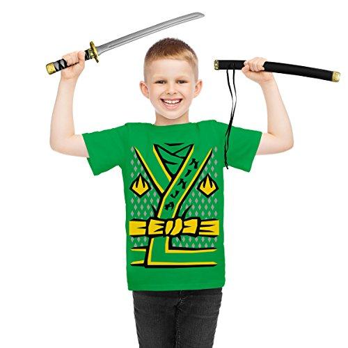 m Verkleidung Karneval Fasching - Kinder T-Shirt + Schwert Shirt Grün XS 140/152 (9-11J) / Schwert OS (Japanische Krieger Mädchen Kostüm)