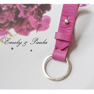SchlüsselAnhänger echtes Leder robust pink rosa Schlüsselring schlicht edel Frauen Mädchen