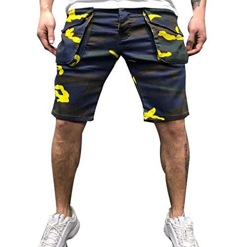 BHYDRY Herren Camouflage Baumwolle Multi-Pocket Overalls Shorts Mode ()