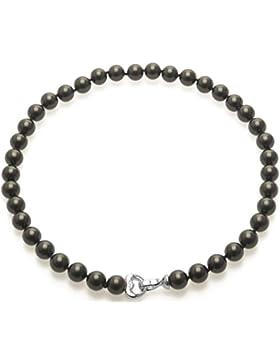 Damen Perlenkette Kette-Halskette-Collier Schwarze muschelkernPerlenkette Modeschmuck Perlenkette Perlen Kette...