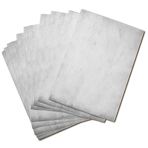 50 BLATT Vintage Briefpapier / DIN A4 90g /m² - ca 21 x 30 cm / Bastelpapier für Kinder / für Karten + Einladungen zur Hochzeit / Vintage Papier beidseitig bedruckbar / 50er Block blanko Motivpapier / Set zum Gestalten in grau