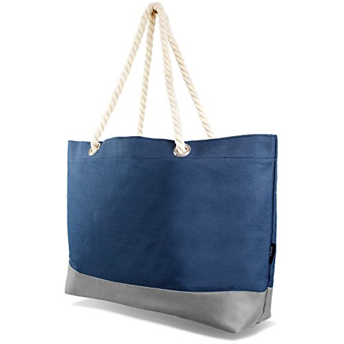 Beachbag Grosse Strandtasche Badetasche für Damen Weekend Bag - Navy