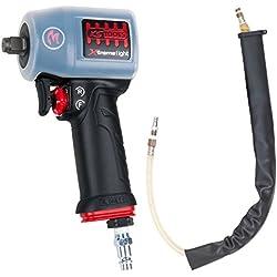 KS Tools 515.1155 miniMONSTER Xtremelight Hochleistungs-Druckluft-Schlagschrauber 1.390 Nm mit Schutzhülle und Geräusch-Reduzier-Schlauch, 1/2
