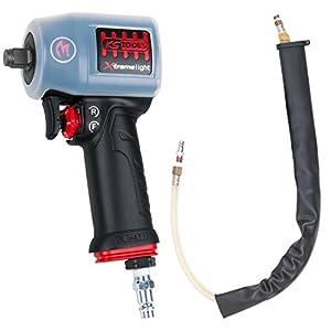 KS Tools 515.1155 1/2″ miniMONSTER Xtremelight rückenschonender Hochleistungs-Druckluft-Schlagschrauber 1.390 Nm mit Schutzhülle und Geräusch-Reduzier-Schlauch, AGR Zertifiziert