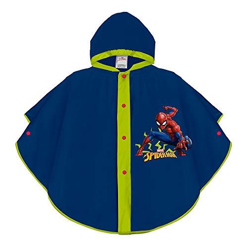 Perletti Marvel Spiderman Regencape Blau für Kinder - Spider Man wasserdichte Regen Poncho mit Kapuze und Knöpfe - Apfelgrüne Details und Blitz - Jungen 3/6 - Regenjacke aus Eva (Blau, 3/6 Jahren)