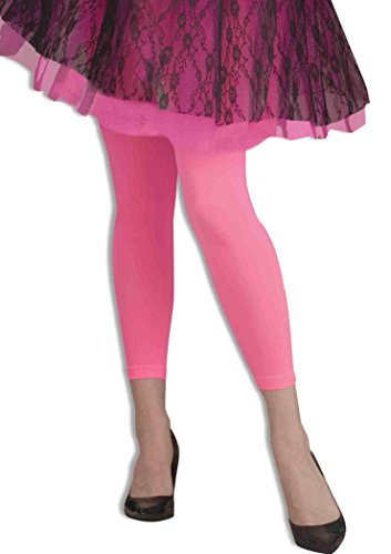 Footless Neon Tights PINK Fancy Dress (Footless Tights Rosa)