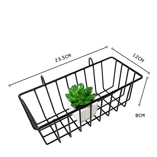 Hearthrousy Blumentopf-Regal-Draht-Wand-Gitter-Gitter-Korb-Draht-Ablagekorb-Eisen-Wand-angebrachter Dekoration-Zahnstange-Innenanhänger Metallstab für kleine Einzelteile -