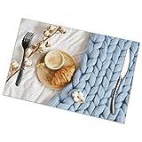 Osmykqe Tovaglietta Tazza Cappuccino Cornetto Blu Pastello Gigante Set di 6 tovagliette Antiscivolo per Tavolo da Pranzo e Cucina