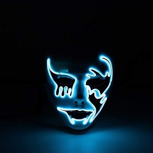 Rorschach Kostüm Cosplay - AMSIXP Maske Halloween Maske Led Leuchten Lustige Masken Große Festival Cosplay Kostüm Liefert Party-Maske Porzellan blau