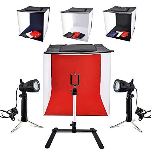 Fotografía 40cm x 40 cm Caja de Fotografía Portátil con Softbox Iluminación LED para Fotografía Profesional con 2x14 Lumières LED 4 Colores de Fondo para Publicidad de Productos de Joyería