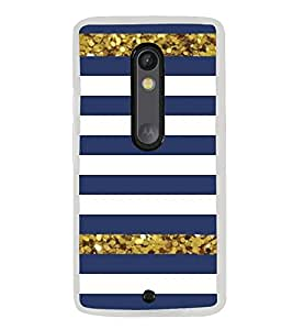 Blue and White Line Pattern 2D Hard Polycarbonate Designer Back Case Cover for Motorola Moto X Play