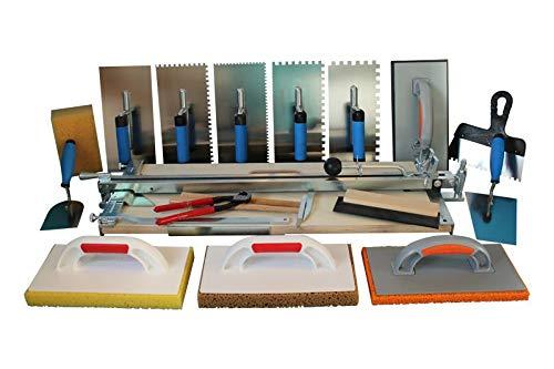 Profi Fliesenschneider 750 mm Schnittlänge und Extra grosses Werkzeugset + Gratis Winkel für Diagonalschnitte und Ersatzschneidrad mit Achse