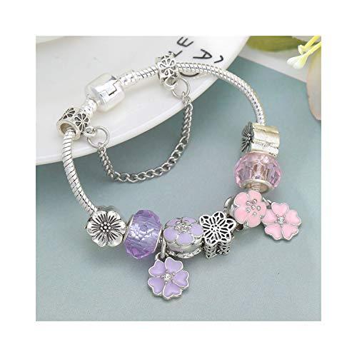 Awertaweyt Edelstein Perlen Armband Blue Crystal Charm Bracelet with Marano Beads Fits Original Fine Bracelet for Women Friendship Bracelet A17 18cm - Xoxo Watchs Frauen