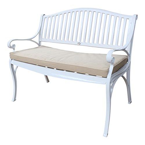 Lazy Susan - GRACE Gartenbank aus Aluminium, Weiß (Beiges Kissen)