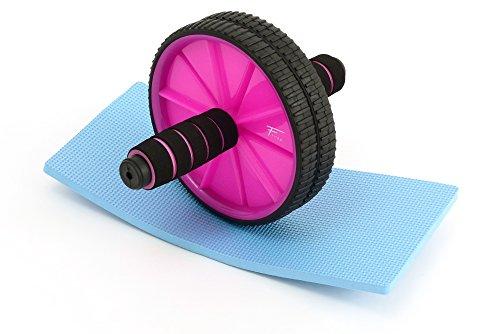 AB Wheel Roller fitem Pro + alfombra repose-genoux–Rueda Abdominal–Calentador abdominales–Ruleta Abdo–musculación, morado
