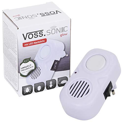 VOSS.sonic Ultraschall-Vertreiber 500 - Glow Ultraschall-Abwehr, Insekten-Vertreiber, Schädlings-Bekämpfung, Ameisen, Ungeziefer, Nachtlicht Steckdose