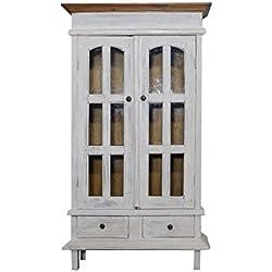 Rústico con placa frontal de cristal armario vitrina aparador madera de armario puertas país estilo