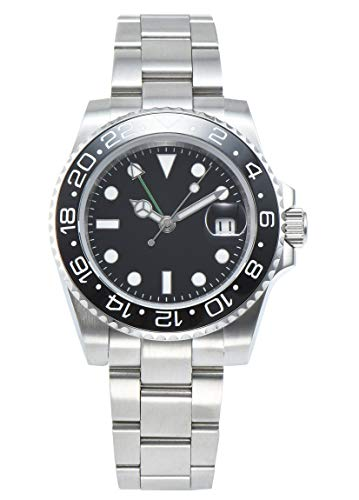 PARNIS 2034-Z GMT Herrenuhr Automatikuhr Edelstahl Saphirglas Keramiklünette Wasserdicht 5BAR DIN 8310 mechanisches Uhrwerk MZ-3813 mit zweiter Zeitzone