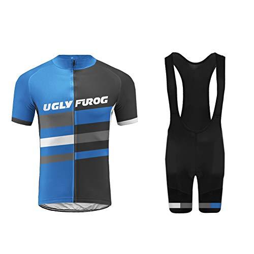 Uglyfrog HDZD18-15 Herren MTB Radtrikot Set Rennrad Fahrrad Trikot Kurzarm Fahrrad-Club Cycling Team Bici Bekleidung Jersey+ Radhose mit Sitzpolster -