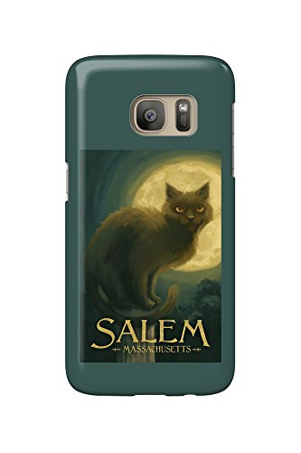 Salem, Massachusetts - Black Cat - Halloween Oil Painting (Galaxy S7 Cell Phone Case, Slim Barely There)